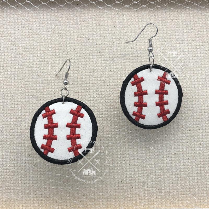 Satin Edge Stitch Softball Baseball Earring Machine Embroidery Design