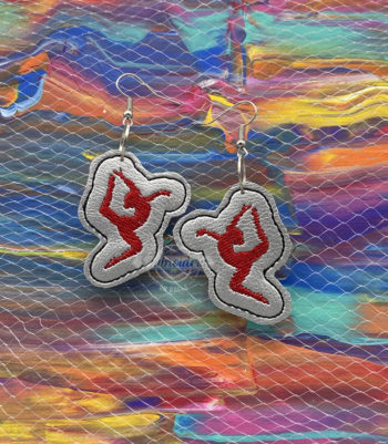 Gymnastics Earring Outline In the Hoop Embroidery Designs
