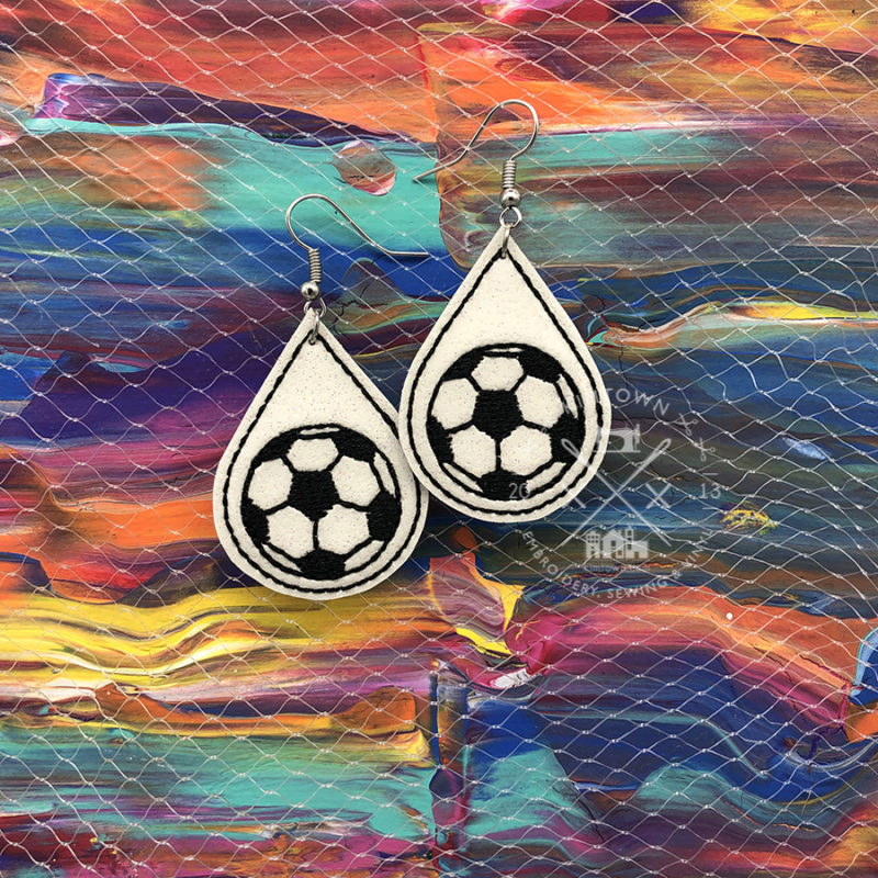 Soccer Ball Earrings Machine Embroidery Designs