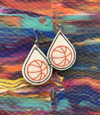 Basketball Earrings Machine Embroidery Design