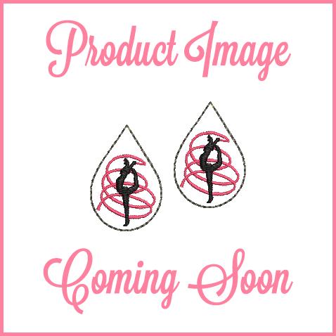Rhythmic Gymnastics Teardrop Earrings In the Hoop Machine Embroidery Design