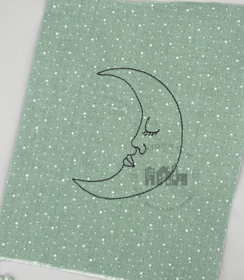 Sleepy Crescent Moon - Machine Embroidery Design