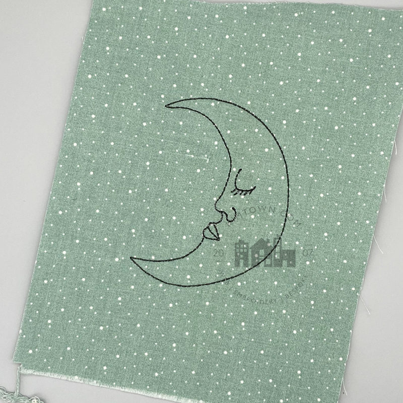 Sleepy Crescent Moon - Machine Embroidery Design