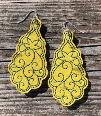 In the Hoop Filigree Machine Embroidery Earrings