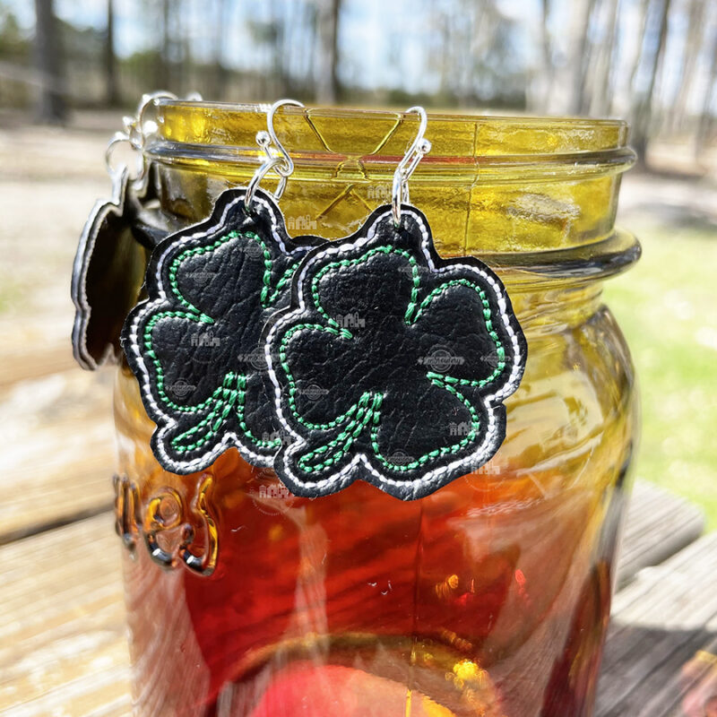 Shamrock Earrings In The Hoop Machine Embroidery Design