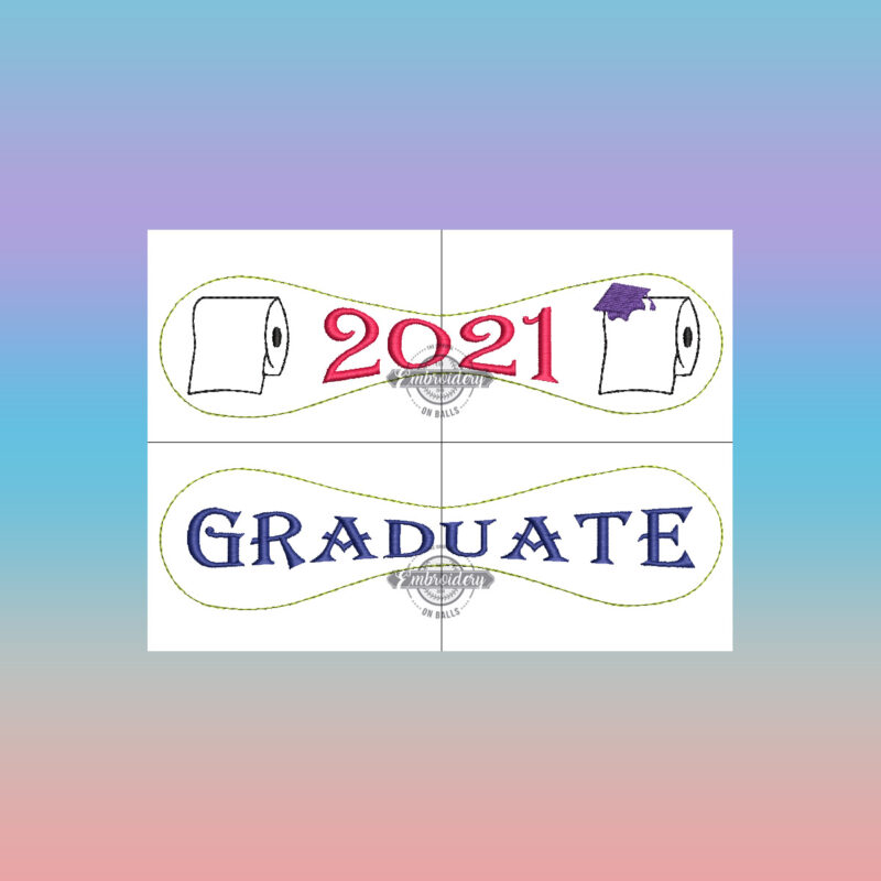 2021 Toilet Paper Graduate Embroidery Design - Baseball Embroidery