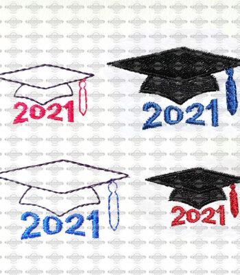 Graduation Cap 2021 Mini Embroidery Design